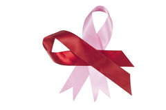Red and Pink Ribbons in Support of Aids and Breast Cancer Awaren Royalty Free Stock Photo
