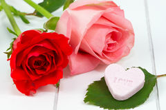Red and pink rose and candy heart Stock Photos