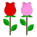 Red & Pink Rose Flat Icon Isolated on White Stock Image