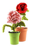 Red and pink roses in wool Stock Images
