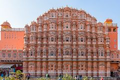 Red and pink sandstone facade of Hawa Mahal, Palace of Winds royalty free stock photos
