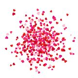 Red and pink scatter paper hearts confetti isolated on white background. Romantic holiday decorative element. Vector illustration.  royalty free illustration