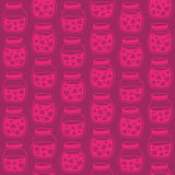 Red Pink seamless pattern with the Strawberry jam jars. Royalty Free Stock Photography