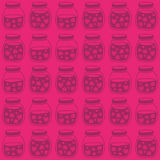 Red Pink seamless pattern with the Strawberry jam jars. Stock Photography