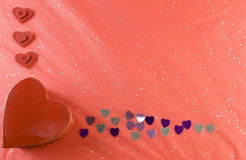 Red, pink, silver hearts valentine frame Royalty Free Stock Images
