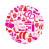 Red and pink simple wedding icons in circle Stock Photo