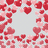 Red and pink translucent hearts arranged in a circle. Place the cell under the ad. Checkered background. Valentine`s Day. Vector illustration royalty free illustration