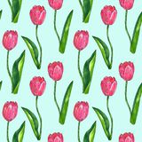 Red pink tulips with leaves. Seamless pattern. Texture for print, fabric, textile, wallpaper. Hand drawn watercolor and ink stock illustration