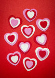 Red and pink Valentines day hearts Stock Photography