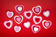 Red and pink Valentines day hearts Royalty Free Stock Photos