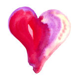 Red and pink Watercolor heart. Watercolor heart isolated on white Royalty Free Stock Photo