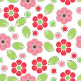 Red and pink watercolored flowers background. Seamless pattern good for web pages or as wallpaper vector illustration