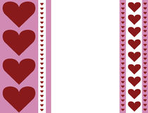 Red pink and white heart stripe design valentines day background illustration with blank space Stock Images