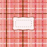Red pink white tartan affixed by clear sticker Stock Photo