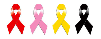 Red Pink Yellow and Black Ribbon Stock Images