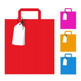 Red pink yellow blue bag shopping and tag banner vector design Stock Images