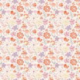 Red-pink with yellow seamless pattern with cartoon flowers Stock Image