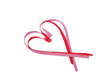 Red and pink zip in the form of heart Stock Photos