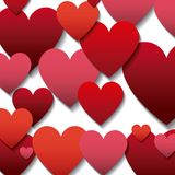 Red and pinks hearts background Stock Photos