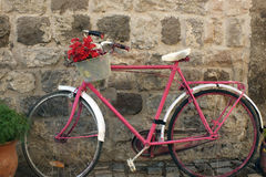 A red and pinky bike in the street. A red pinkiy bike in the street Stock Photos