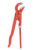 Red pipe wrench Royalty Free Stock Images