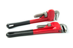 Red pipe wrench Stock Photos
