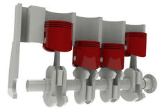 Red Pistons and grey crankshaft Stock Image