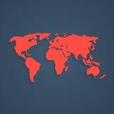 Red pixel art world map. Concept of 8bit videogame, graphic wallpaper, school education, locations, infographics element. pixelart style trendy modern design stock illustration