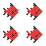 Red Pixel Fish, Geometric Fish. Consisting of color Squares, Polygonal Fish Silhouette on white background Stock Photos