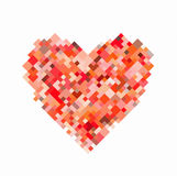 Red pixel heart on white background Royalty Free Stock Photography