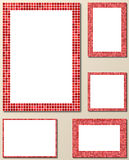 Red pixel mosaic page border template set Stock Photo