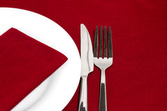 Red place setting Stock Image