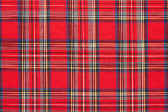 Red plaid, checkered scottish fabric background Stock Photo