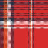 Red plaid fabric texture pixel seamless pattern vector illustration