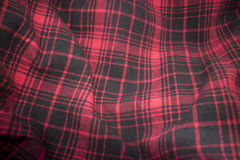Red plaid flannel fabric cloth Stock Photography