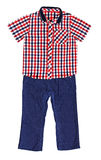 Red plaid shirt with a short sleeve and blue velveteen trousers Stock Photography