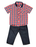 Red plaid shirt with a short sleeve and jeans Royalty Free Stock Photo