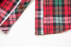 Red plaid shirt on white Royalty Free Stock Images