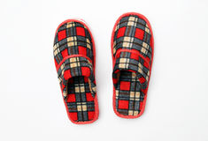 Red Plaid Slippers. Isolated on white background Stock Photo