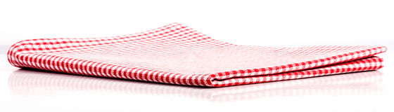Red plaid tablecloth folded in two Royalty Free Stock Photo