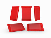 Red plain flow wrap packet with clipping path Royalty Free Stock Photography