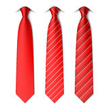 Red plain and striped ties Stock Photos