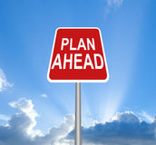 Red plan ahead sign royalty free stock images