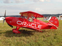 A red plane at the first festival of aeronautics Moscow Sky, August, 2014. The first festival of aeronautics was a great event visited by thousands of people royalty free stock images