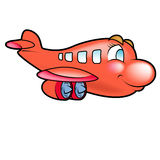 Red Plane flying Stock Photo