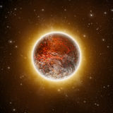 Red Planet. Red Volcanic Planet - 3D illustration Royalty Free Stock Images