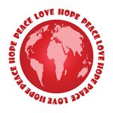 Red Planet. With text Peace hope and love Royalty Free Stock Photo
