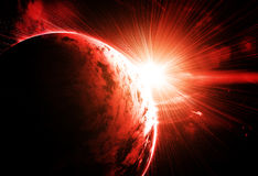Red planet. With a flash of sun, abstract background vector illustration