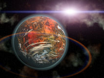 Red planet and alien sun in space Royalty Free Stock Image