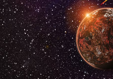 Red planet on cosmos stars backgrounds Stock Photography